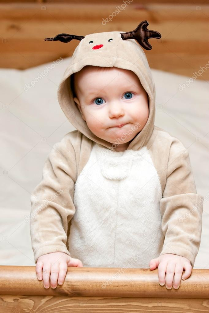 Little baby girl in deer costume