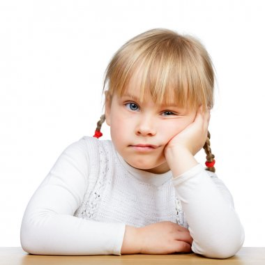 Close-up of a sad little girl