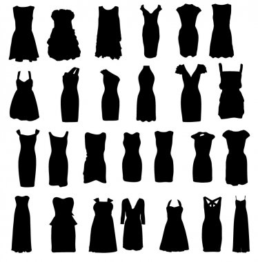 Set of dresses silhouette isolated on white background