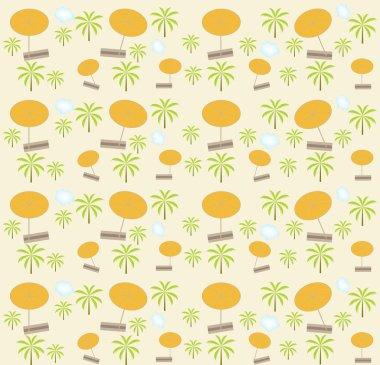 Palm trees, umbrellas seamless pattern. Vector illustration.