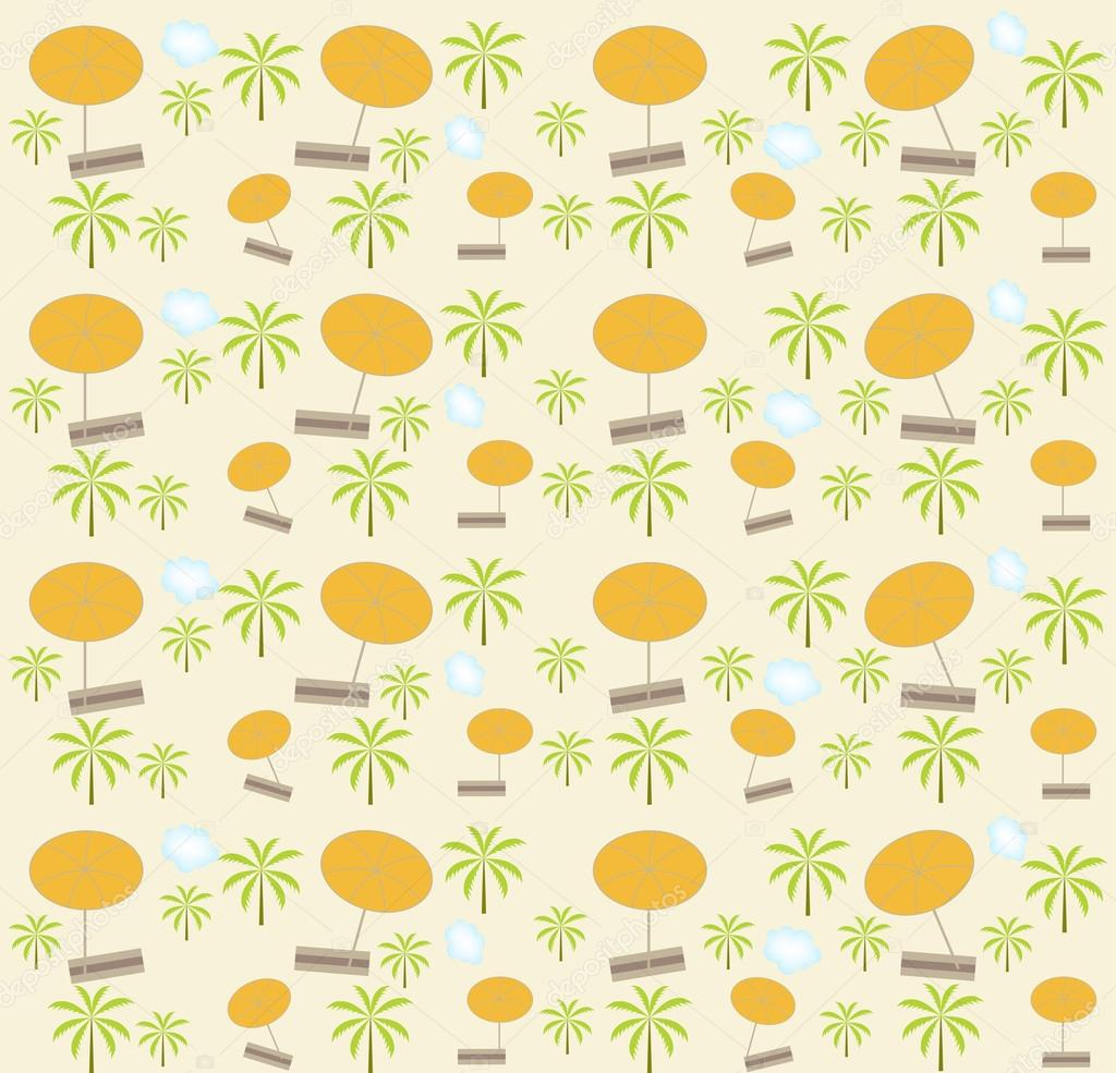 Palm trees, umbrellas seamless pattern. Vector illustration.