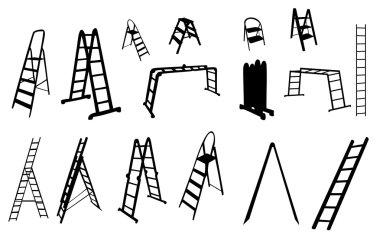 set of ladder silhouette. vector illustration.