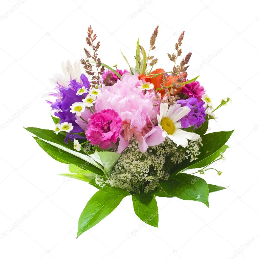 Colorful flowers bouquet isolated on white background. vector il