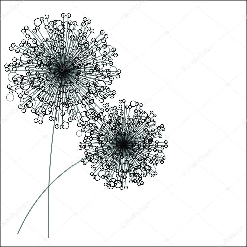 Abstract flowers silhouette. Vector illustration