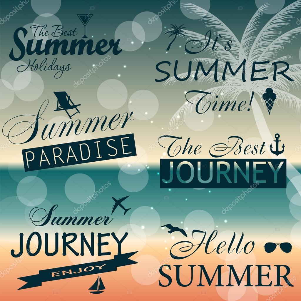 Vintage summer calligraphic elements design labels collection. V