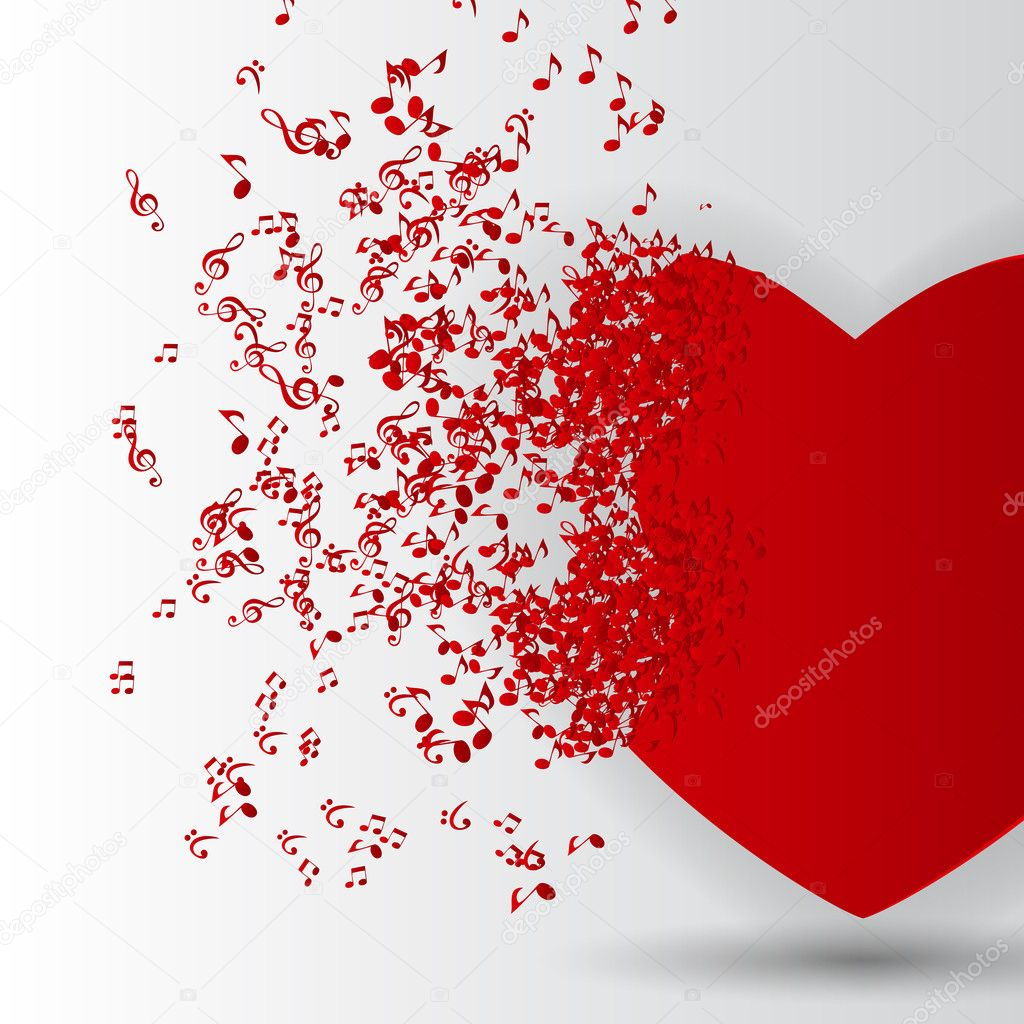 Happy Valentines Day Card with Heart, Music Notes. Vector Illus