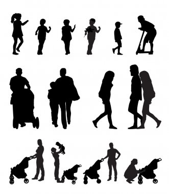Mother with Pram and Children Silhouette Vector Illustration