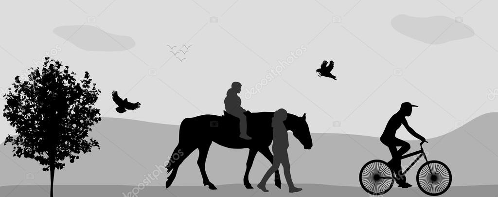 People walking in the park on a horse and bicycle. Vector Illust