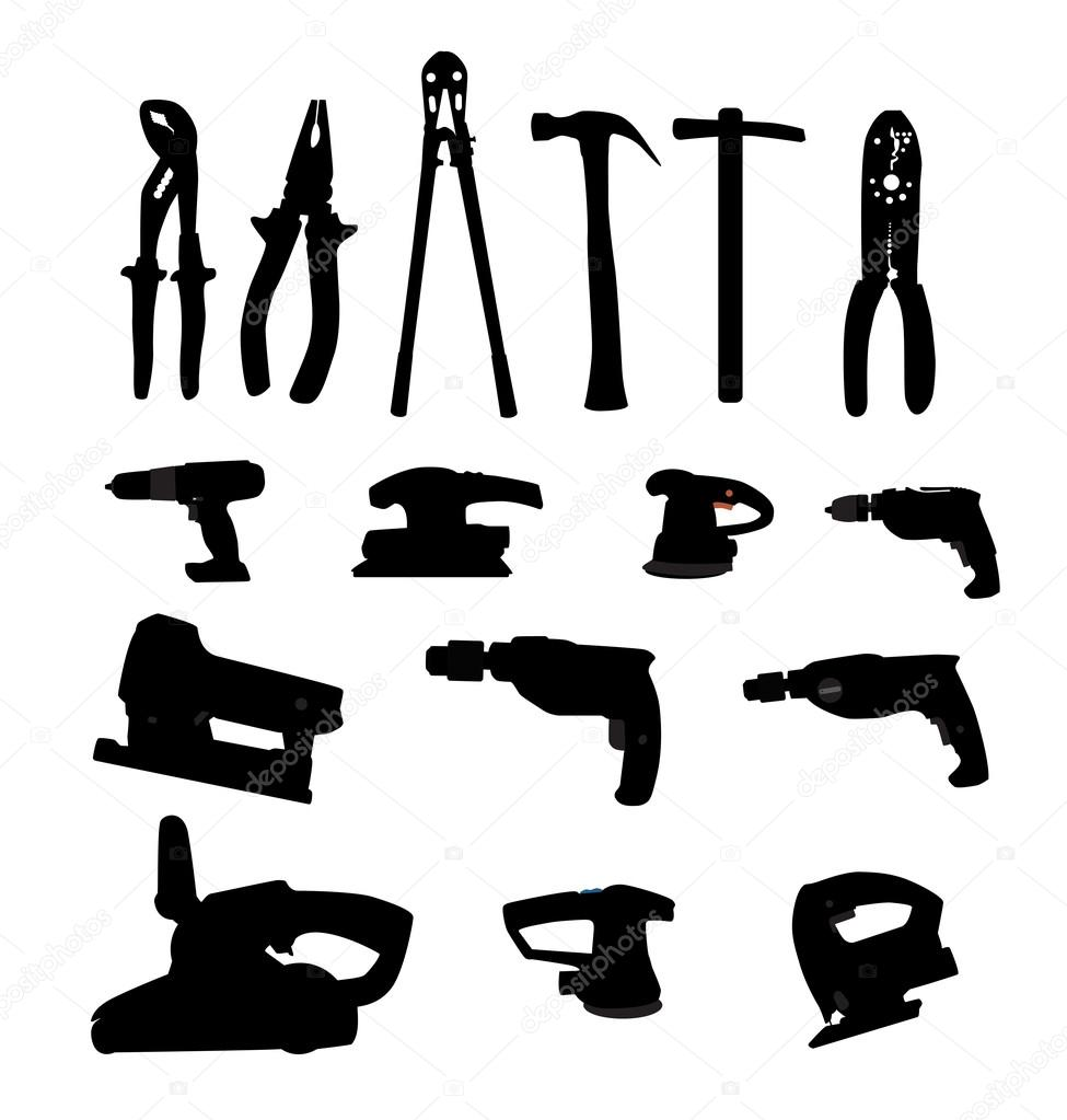 Collection of Power Tools Vector Illustration Silhouette