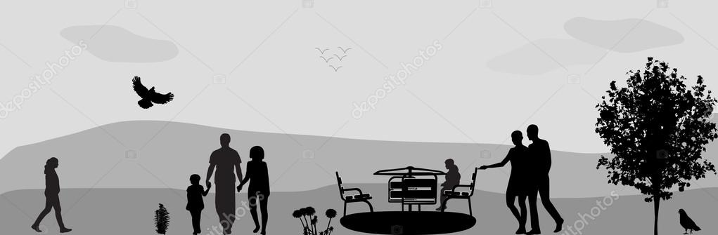Children Ride on a Swing in the Park. Vector Illustration.