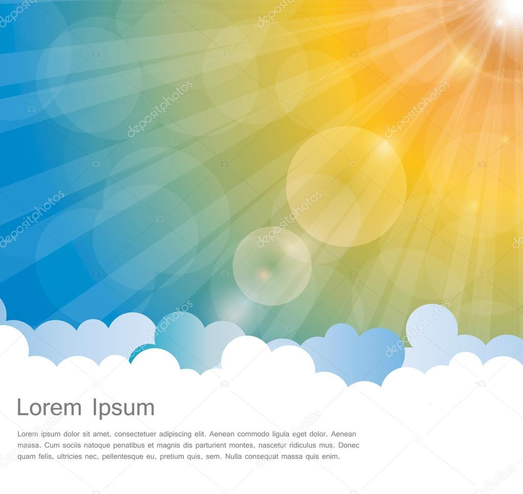 Abstract Natural Sunshine and Cloud Vector Background.