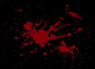 Red blood splash painting on Black