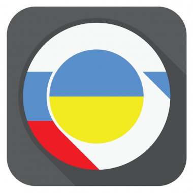 vector illustration - ukraine and russia flags one inside anothe