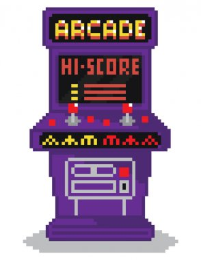 Vector illustration - pixel art style drawing of arcade cabinet, screen shows high scores list, isolated vintage item on white background stock vector