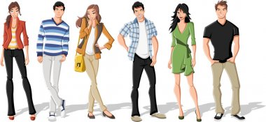 Group of fashion cartoon young . Teenagers. clip art vector