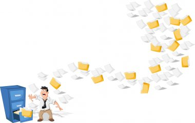 Cartoon man surprised by papers and folders flying