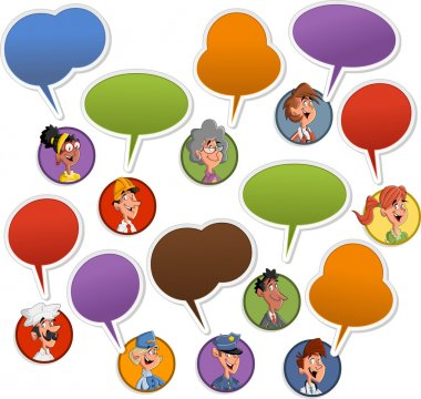 faces with speech balloon icons