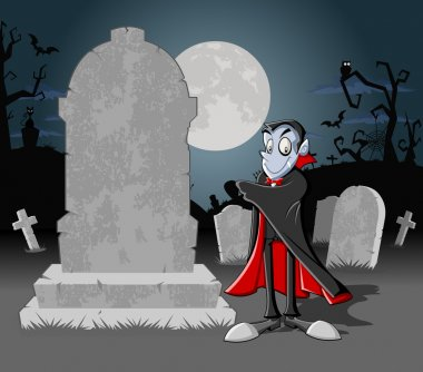 Halloween cemetery background with tombs and funny cartoon classic vampire character stock vector