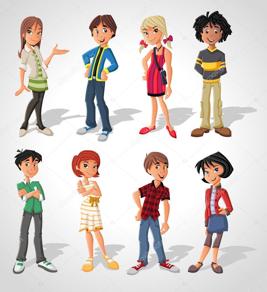 Group of cartoon . Teenagers.