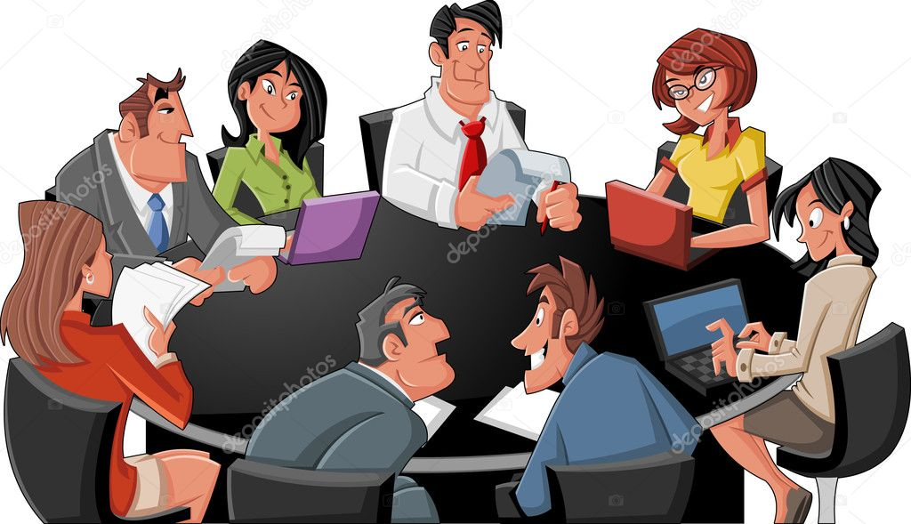 Meeting table with business