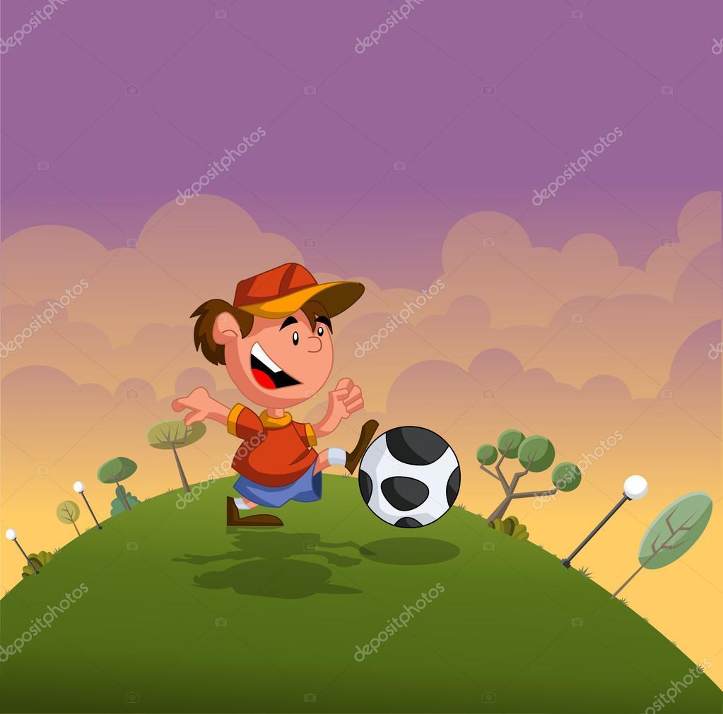 Ragazzo dei cartoni animati giocando con il pallone da calcio