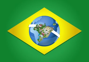 Flag of Brazil with world map