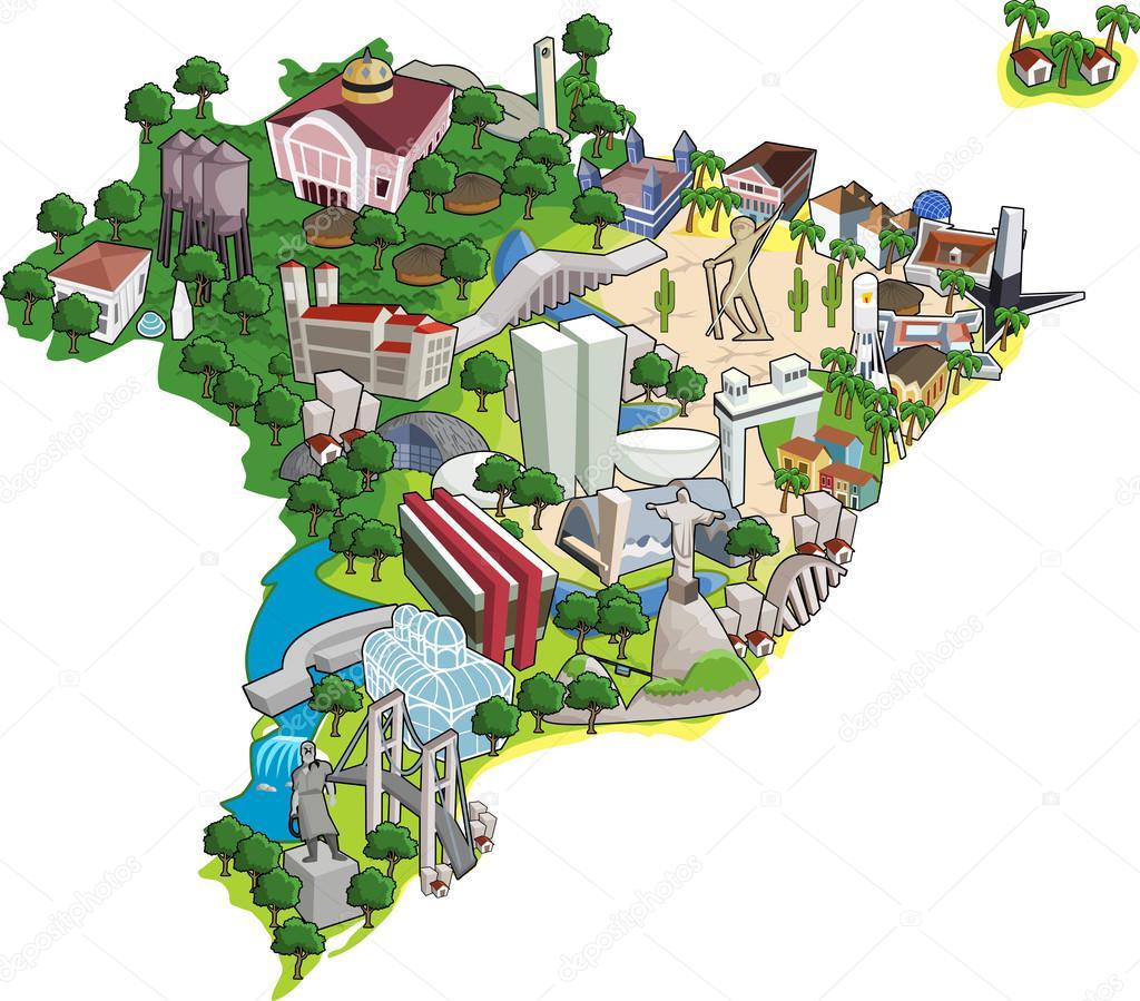 Map Of Brazil Stock Vector Deniscristo - Brazil map illustration
