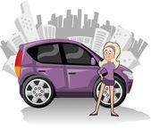 žena s fialovým kompaktní vůz