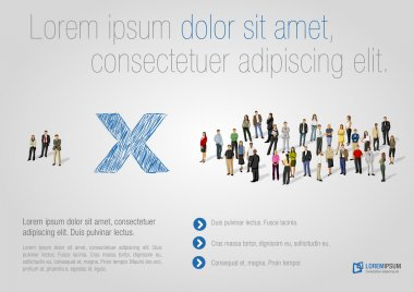 Template for advertising brochure with two groups of business stock vector