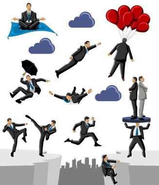 Group of business and office doing crazy things stock vector