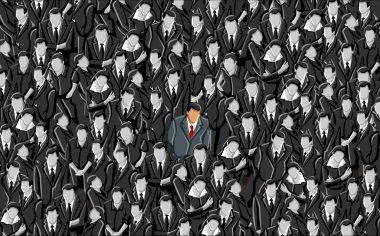 Man standing out from a crowd clip art vector