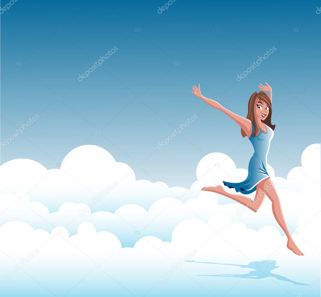Cartoon young happy woman jumping on clouds — Stock Vector ...