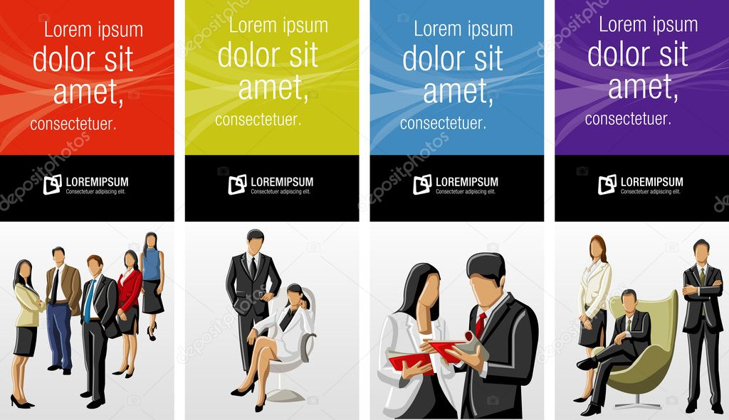 Template for advertising brochure with business clipart vector