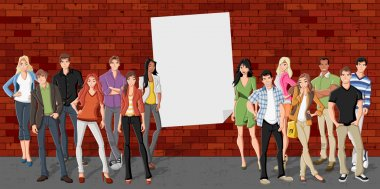Group of cartoon teenagers in front of red brick wall background clip art vector