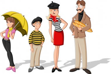 Fashion french cartoon family