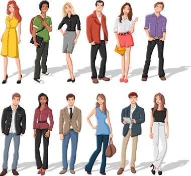 Group of fashion cartoon young clip art vector