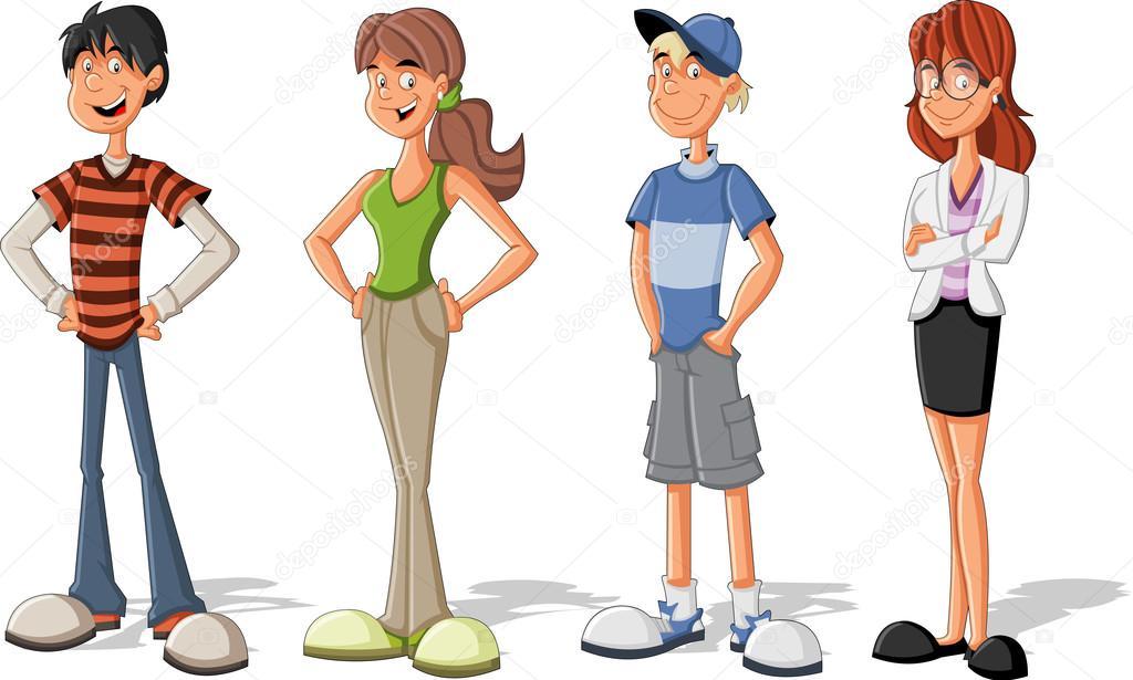 Groupe d 39 enfants de dessin anim cool adolescents image vectorielle deniscristo 22532865 - Dessin groupe d enfants ...