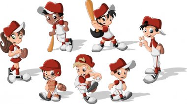Children wearing baseball uniform