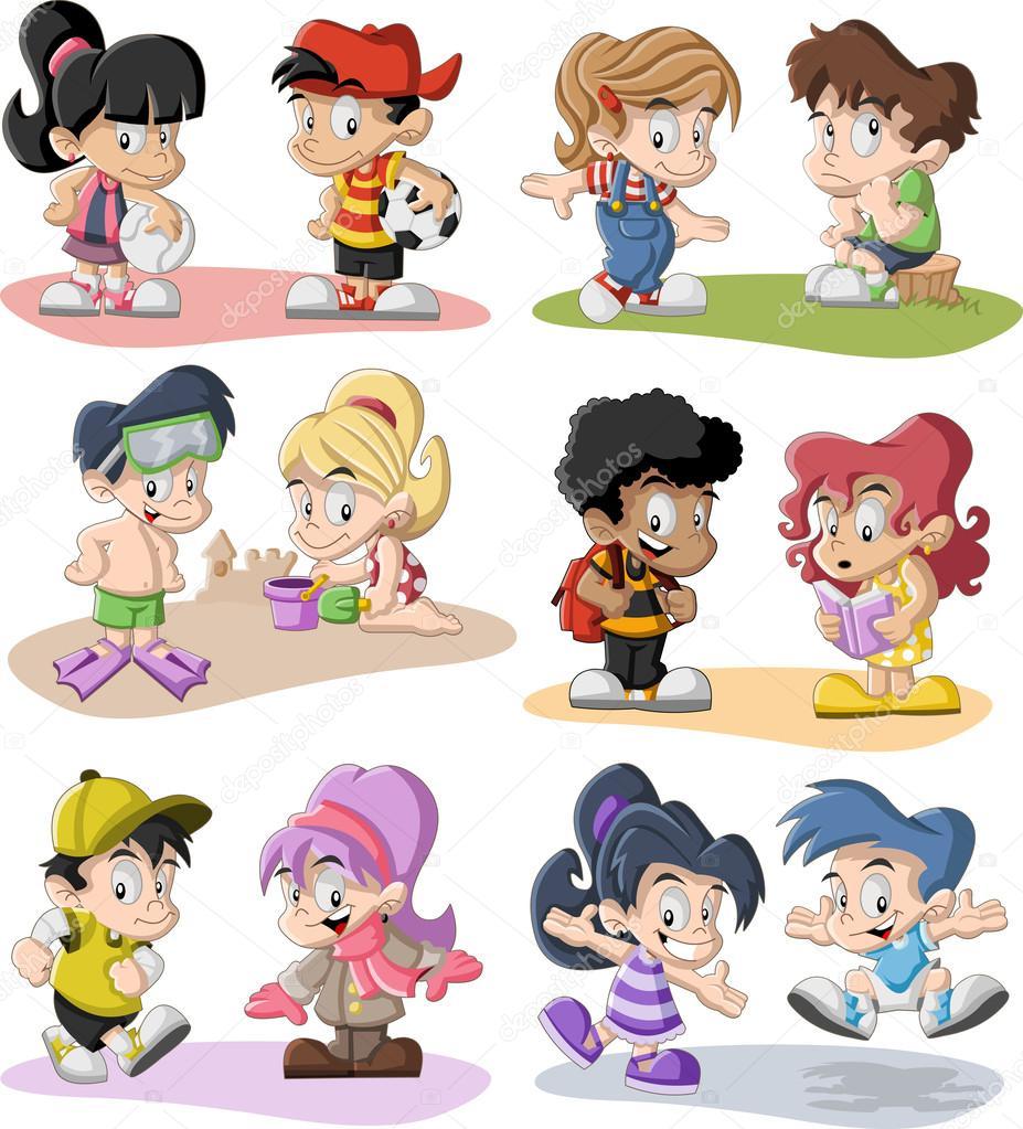 Niños de dibujos animados jugando — vector stock