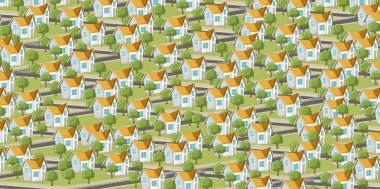 Suburb neighborhood with isometric houses. Cartoon city.