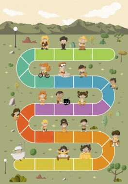 Board game with cartoon children playing over path on the green park