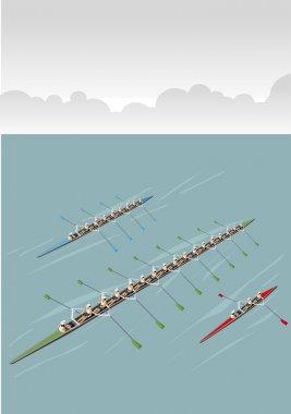 Race of men rowing team
