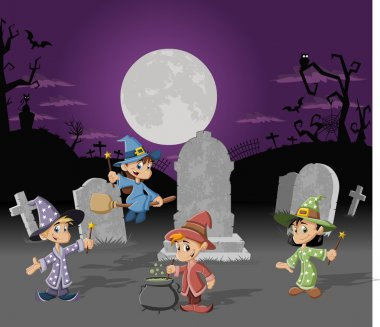 Halloween cemetery with wizards