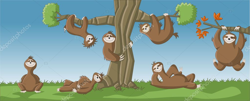 Cartoon brown sloths