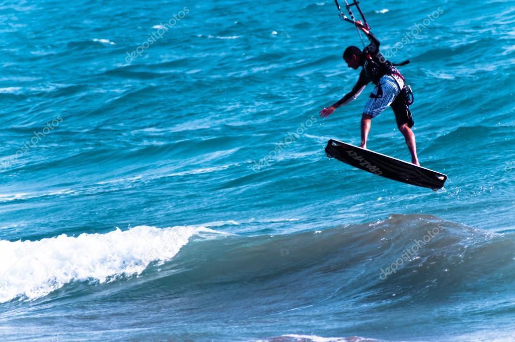Flying kite surfing