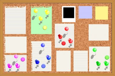 Corkboard with paper notes etc