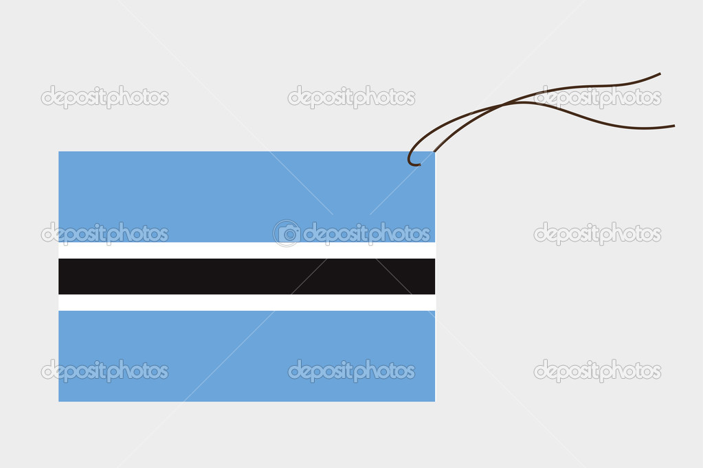 Botswana flag on a label with string vector by paulstringer