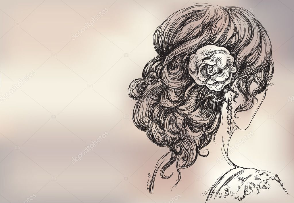 Vector drawing of a beautiful girl bridal hairstyle for Beautiful images to draw