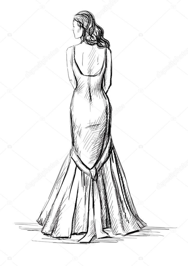 Belle jeune fille v tue d 39 une robe longue image vectorielle kamenuka 14871581 - Dessin de fille belle ...