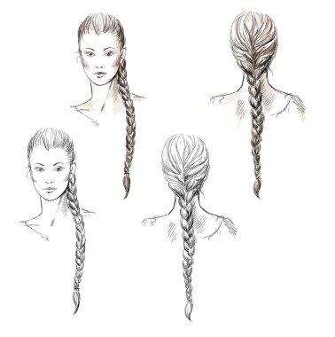 Girl with a braid, vector EPS 10